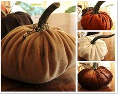 Fabric pumpkins that use the stalk of a real pumpkin. - from New House New Home New LIfe.