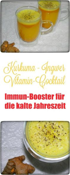 Kurkuma-Ingwer Vitamincocktail – Immunbooster für die kalte Jahreszeit Today I have something for the very few of you, namely a vitamin cocktail par excellence: turmeric ginger immune boosters. Juicer Recipes, Detox Recipes, Healthy Smoothies, Smoothie Recipes, Ginger Vitamins, Vitamin A, Health Cleanse, Detox Drinks, Diet And Nutrition