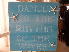 Beach sign, hand painted beach canvas with starfish, rustic beach decor. on Etsy, $40.00