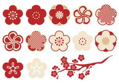 Plums Design Parts Material Stock Vector (Royalty Free) 508580050 Japanese Icon, Japanese Patterns, Japanese Fabric, Japanese Art, Homemade Stickers, New Year Images, Sakura Cherry Blossom, New Year Card, Silk Screen Printing
