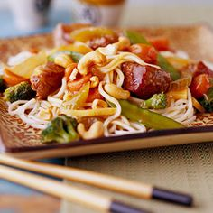 While lo mein gets its name from the kind of Chinese noodle traditionally used in the dish, other noodles, including angel hair pasta and vermicelli, easily can be substituted in this slow cooker special.