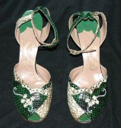 Gainsborough Snakeskin High Heeled Shoes 1940's