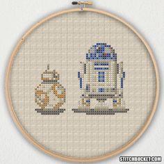BB-8 Ball Droid and R2-D2 Star Wars Cross Stitch