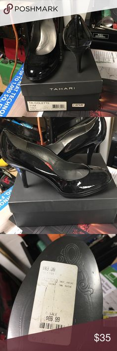 Black patent leather Tahari pumps. Size 11 Brand new still in box. Purchased for $69. Great black pump. 3 inches. Has a platform. Tahari Shoes Heels