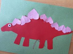 Stegasaurus Dinosaur Valentine Cards.  My son made them last year and mailed to cousins.