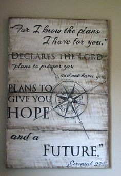 NEW! Jeremiah 29:11, star compass sign, hand painted on rescued pine boards. Boys nursery/room sign.