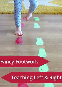 {Fancy Footwork} Games to teach left and right. Great for toddler, preschool or kindergarten. Gross Motor Activities, Movement Activities, Educational Activities, Learning Activities, Preschool Activities, Physical Activities, Preschool Learning, Early Learning, Fun Learning
