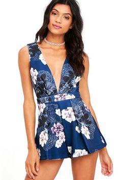Peonies Please Navy Blue Floral Print Romper at Lulus.com!
