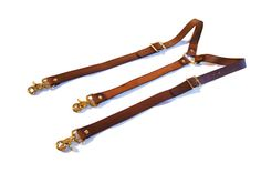 Medium Brown with Brass Hardware please Brown Leather Suspenders with Brass or Steel by ProjectTransAction, $65.00