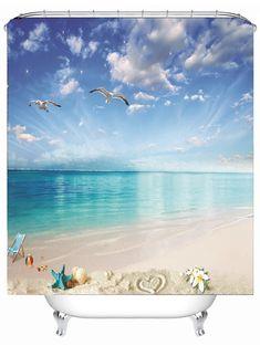 Beach Landscape Waterproof Fabric Shower Curtain - SKY BLUE 150*180CM Cheap Shower Curtains, Fabric Shower Curtains, Shower Cutains, Curtain Material, Beach Landscape, Waterproof Fabric, Sky, Bathroom, Outdoor Decor