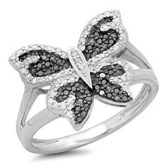 Buy Dazzlingrock Collection Carat (ctw) Sterling Silver Round Black And White Diamond Ladies Butterfly Right Hand Ring CT online - Showalloffer Silver Diamonds, Colored Diamonds, Butterfly Ring, Right Hand Rings, Silver Rounds, Cocktail Rings, Statement Rings, Black Diamond, Women Jewelry
