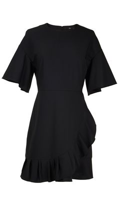 Cut with pleated wrap effect across the front, this tropical wool dress cinches the waist and features flared ruffle sleeves. The perfect piece for the transitional season, we like it styled with ankle or calf-high boots. Hidden zip closure at back. Partially lined.    53% Polyester, 43% Virgin Wool, 4% Elastane. Professional Dry Clean Only.  Style Number: TP216TRW14453  Available in: Black