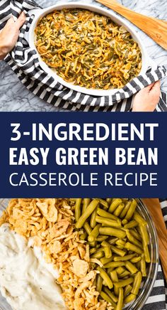 Easy Green Bean Cass Easy Green Bean Casserole -- my family's version of the classic green bean casserole recipe uses only 3 ingredients including canned green beans. Because who needs another complicated Thanksgiving recipe? Simple Green Bean Casserole Recipe, Classic Green Bean Casserole, Easy Casserole Recipes, Crockpot Green Bean Casserole, Simple Green Bean Recipe, Green Bean Casserole Ingredients, Quiche Recipes, Canned Green Bean Recipes, Can Green Beans
