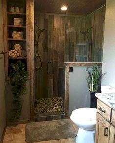 65 Farmhouse Master Bathroom Decor Ideas on A Budget – Bathroom Remodel Ideas - Bathroom Ideas Rustic Bathroom Shower, Rustic Master Bathroom, Rustic Bathroom Designs, Modern Farmhouse Bathroom, Rustic Bathrooms, Bathroom Layout, Dream Bathrooms, Bathroom Interior, Rustic Farmhouse