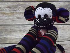 Sock monkey : Luke ~ The original handmade plush animal made by Chiki Monkeys by ChikiMonkeys on Etsy