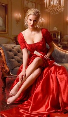 ** Lady in red ** Satin Dresses, Gowns, Beauté Blonde, Estilo Hippie, Sexy Legs, Gorgeous Women, Lady In Red, Sexy Women, Glamour