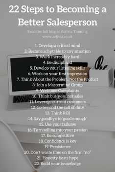 Steps to Becoming a Better Salesperson Not everybody is a natural salesperson, I certainly was not! So this article I wrote details 22 steps in how you can become a better sales person.Becoming Becoming may refer to: Business Sales, Business Marketing, Business Education, Business Planning, Business Tips, Business Video, Sales Skills, Sales Motivation, Sales Quotes