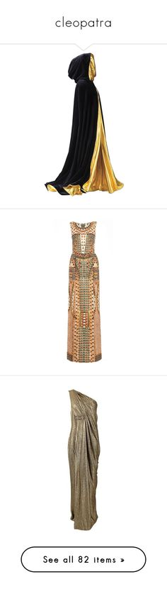 """""""cleopatra"""" by rashinrashin ❤ liked on Polyvore featuring dresses, jackets, cloaks, outerwear, coats, gowns, long dresses, vestidos, ivory and gold dress"""