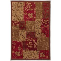 Madison Red/Brown Brocade Patchwork Area Rug