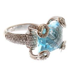 Gucci 18 kt White Gold, Diamond and Blue Topaz Ring