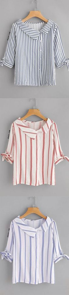 Vertical Striped Tie Cuff Blouse ( maybe a great way to modify a thrift store purchase) Source by shboone T Shirt Yarn, T Shirt Diy, One Direction Shirts, Cut Up Shirts, Crochet Shirt, Sewing Clothes, Refashion, Dress Patterns, Blouse Designs