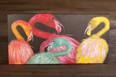 radiant flock of flamingos oil painting  $325.00