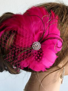 Hot Pink PurpleOff White Bridal Hair Piece by BridalWorldAccessory, $29.00