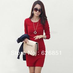 60% off US $9.12 2014 Spring & Autumn Slim Hip Patchwork Long Sleeve Elegant OL Dress Beige Red Black Color Basic One-piece Dress Free shipping
