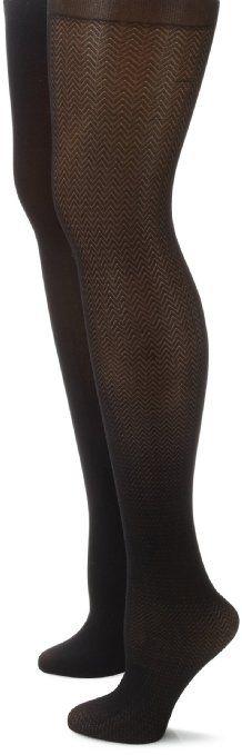 7d538ed0c46e3 Anne Klein Women's 2 Pair Pack Chevron Tight, Black/Black, Medium/Large at  Amazon Women's Clothing store: Black Tights For Women