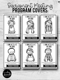 """2018 Primary Program- """"I am a Child of God"""". Sacrament Meeting Program Covers- Black & White so the children can color them in! Primary Program, Primary Songs, Lds Primary, Kids Church, Church Ideas, Over The Moon, Programming, Printables, Faith"""