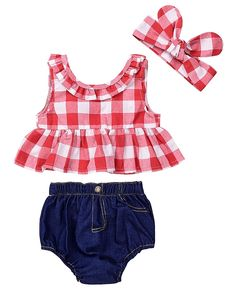 SWNONE 3Pcs Baby Girls Plaid Ruffle Bowknot Tank Top Denim Shorts Headband Outfit Red 06 Months *** Check this awesome product by going to the link at the image. (This is an affiliate link) #BabyGirlClothes