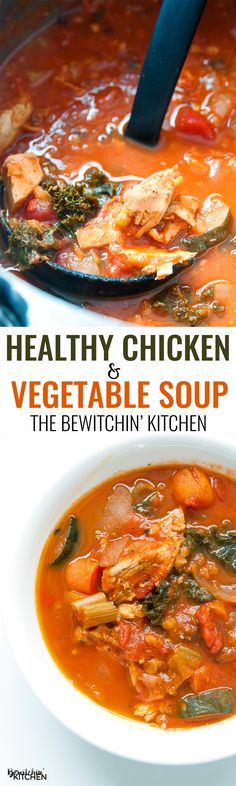 """Healthy Chicken Vegetable Soup. Talk about healthy recipes made easy! Plus a secret ingredient that transforms all soups to """"the best soup ever"""". 