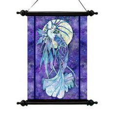 Blue Moon Canvas Wall Scroll Tapestry