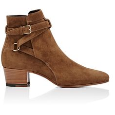 Saint Laurent Women's Blake Ankle Boots ($995) ❤ liked on Polyvore featuring shoes, boots, ankle booties, nude, leather bootie, short boots, ankle strap boots, buckle ankle boots and leather ankle booties