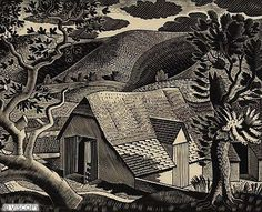 Eric Ravilious - Sussex Landscape, 1933, wood engraving