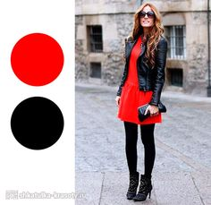 Black leather jacket, black tights and boots, little red dress, perfect for a Fall or Winter night out. i need to add more red to my wardrobe Outfits Damen, Dress Outfits, Cute Outfits, Red Dress Outfit Casual, Fashion Outfits, Chic Dress, Beautiful Outfits, Trendy Outfits, Fashion Ideas