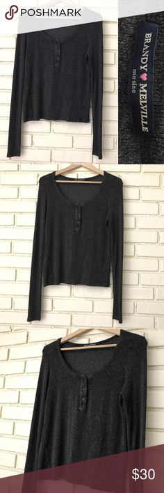 Brandy Melville - Charcoal Gray long sleeve Henley Brandy Melville- adorable charcoal gray Henley. Please see photo of drawn diagram for approximate measurements. Great condition! Brandy Melville Tops Tees - Long Sleeve