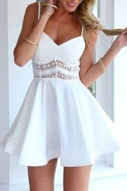 Favourite V Neck Lace Paneled Skater Dress