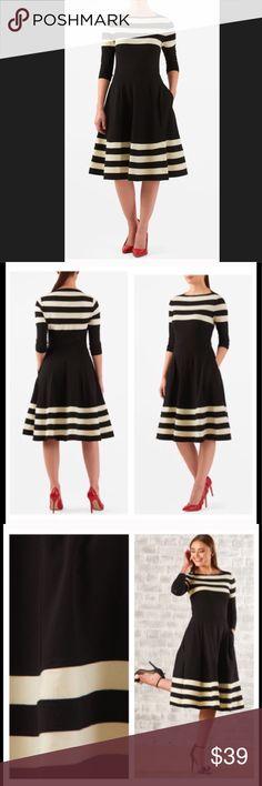 "New Eshakti Striped Fit & Flare Dress XL 18 New Eshakti fit & flare dress XL 18 Measured flat:Underarm to underarm:40"" Waist:34 1/2-37 1/2"" Length:46"" Sleeve: 19"" Eshakti chart for 18 bust: 43 1/2"" Boat neck, bust darts, slips on overhead. Light elastic seamed waist, flared skirt w/side seam pockets? Cotton/spandex, jersey knit, light structured feel, light stretch, midweight. Machine wash. New w/cut out Eshakti tag eshakti Dresses"