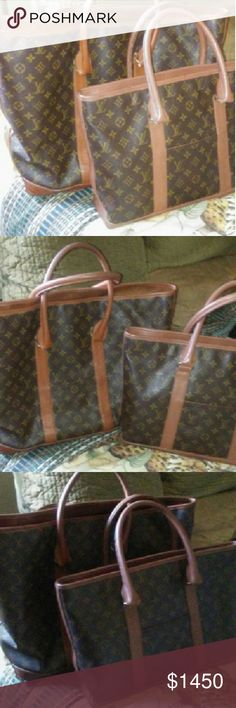"""Set of vintage authentic Louis Vuitton bags This is a beautiful set of authentic vintage Louis Vuitton totes. These gorgeous bags are a girls best friend on the go and for travel. The largest bag is huge, bigger than a carry on. The smaller one is yet large. Sz is around 16""""x14"""". The smaller does have a date stamp. The larger one does not but both are in good condition. No stains, ect. The smallest inside pocket had some stickiness. But hardly any now.  I will take more pictures and answer…"""