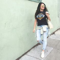 found high tops, ripped up my jeans, thrifted Van Halen, hoops & heart chain // #babachic #sfstreetstyle #blogger
