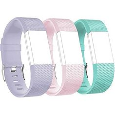 RedTaro Replacement Elastomer Wristband for Fitbit Charge 2 Large (6.5-9.0)-Inches 001 - Light Lavendar Blush Pink and Teal