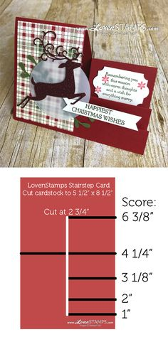 Crafting Hacks: Stairstep Pop-Up Cards for Christmas with Dashing Deer - Karten - Pop Up Christmas Cards, Happy Christmas Wishes, Homemade Christmas Cards, Xmas Cards, Handmade Christmas, Homemade Cards, Holiday Cards, Merry Christmas, Scrapbook Christmas Cards
