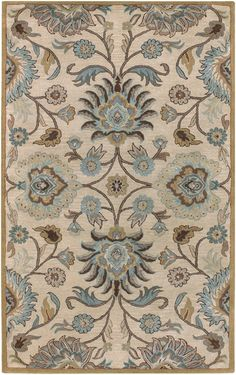 Hand tufted wool rug from the Caesar Collection. Symmetrical floral pattern in warm browns, tans, and blue green accents. By Surya (CAE-1012)