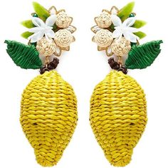 -- Mercedes Salazar 'Wild Lemon' drop clip earrings -- only always Yellow Jewelry, Yellow Earrings, Clip On Earrings, Women's Earrings, Bead Embroidery Patterns, Beaded Embroidery, Feed In Braid, Mexican Jewelry, Craft Accessories