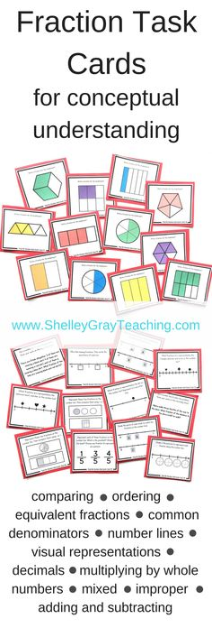 """Fractions are much more than """"pieces of pizza"""" and simple numerator and denominator activities. We need our students to be able to work in depth with fractions, and develop an excellent understanding that helps them see fractions as numbers. This big bundle of fraction task cards includes comparing and ordering fractions, fractions on a number line, common denominators, decimals, multiplying by whole numbers, mixed and improper fractions, adding and subtraction fractions, and more!"""
