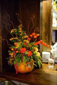 Wedding centrepiece using a pumpkin