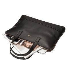 Reeves Women's Slim Leather Briefcase - Black | KNOMO