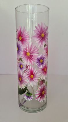 Beautiful Handpainted Glass Cylinder Vase with Pink & Purple Flowers - Painted with Glass Enamels Paint by goosecrossingfarm, $18.00  cylinder