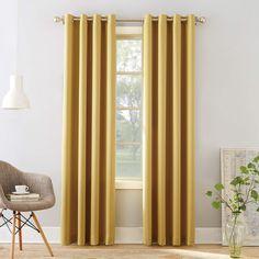 "Sun Zero Barrow Energy Efficient Grommet Curtain Panel, 54"" x 84"", Flax Yellow"